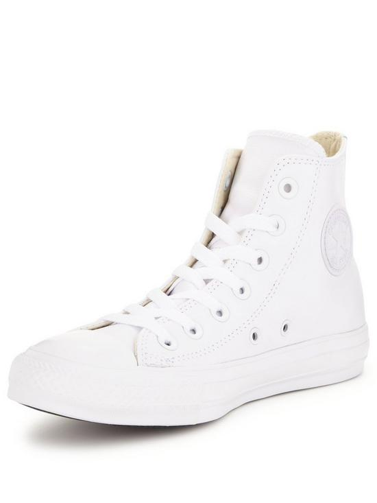 all white leather converse high tops