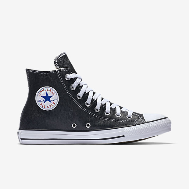 black leather converse high tops mens