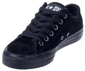 black leather converse trainers