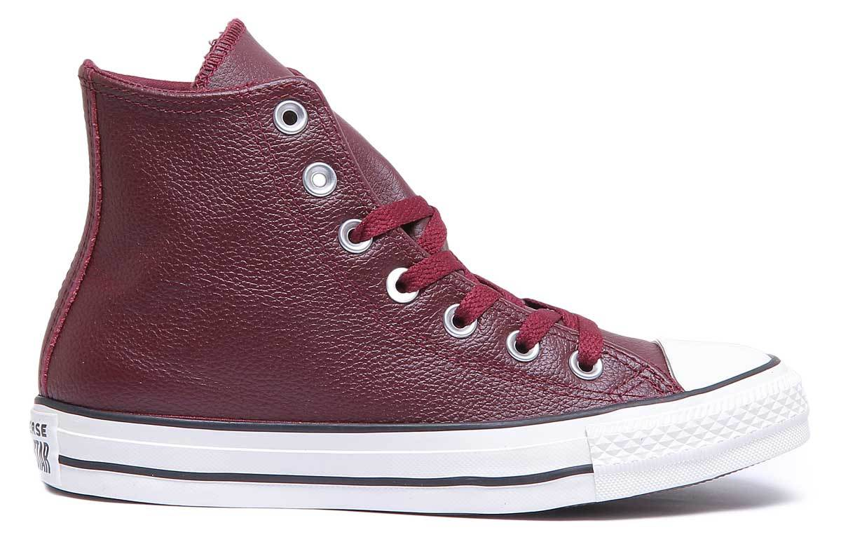 burgundy leather converse