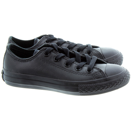 converse black leather shoes