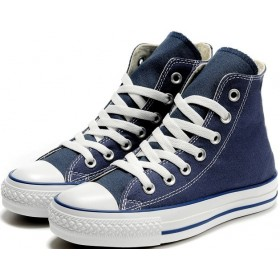 navy blue high top converse