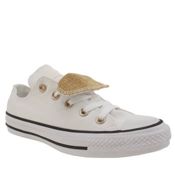 white and gold converse