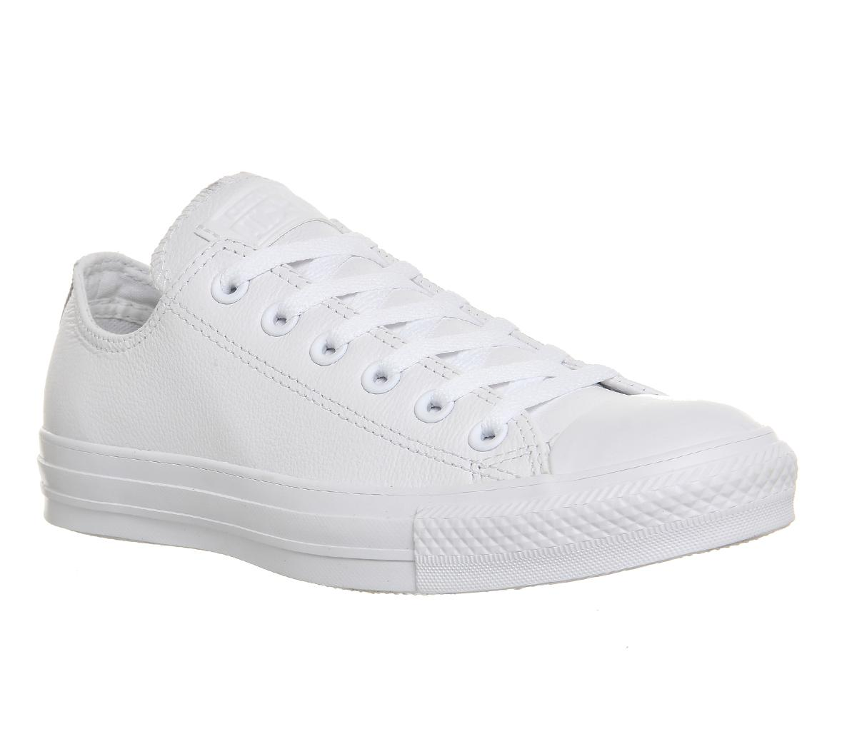 white leather converse low